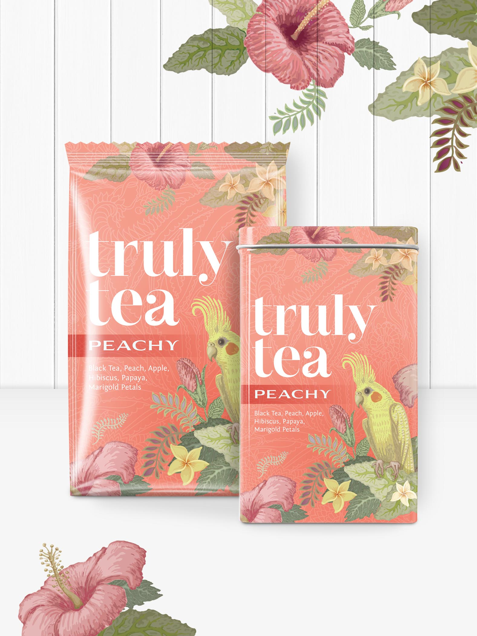 Truly Tea food packaging brand and logo design